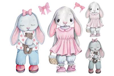 Cute cartoon watercolor bunny rabbit girls.