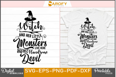 A witch and her little monsters Halloween design