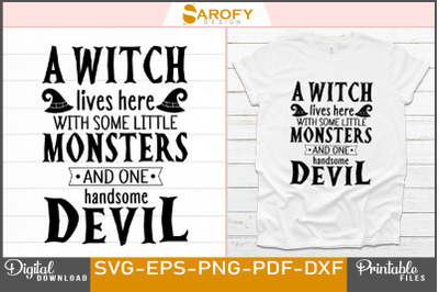 Funny Halloween T-shirt sublimation design witch