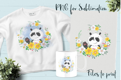 Cute Panda sublimation. Design for printing.