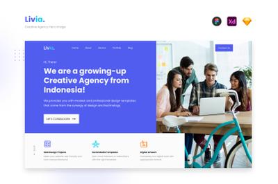 Livia - Creative Agency Hero Image Website UI