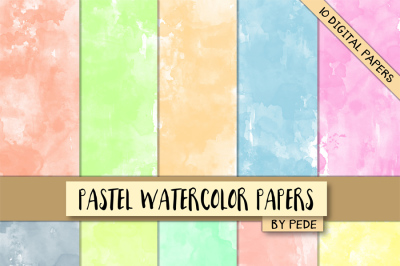 Pastel watercolor digital paper pack