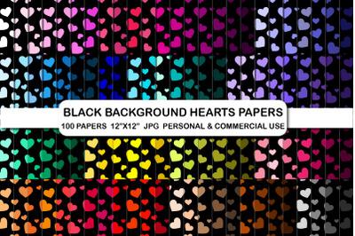Black background hearts digital papers pack, Love Digital papers