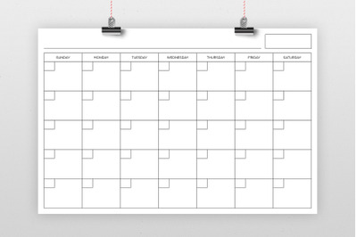 24 x 36 Inch Blank Calendar Page Template