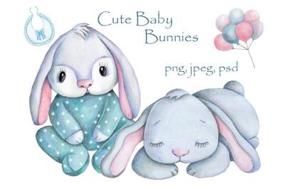 Cute Baby Bunnies. Watercolor illustrations.