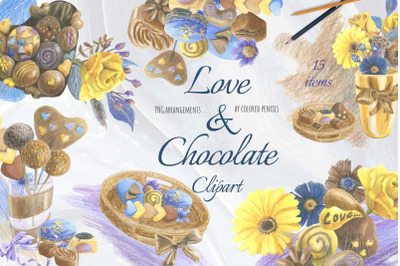 Hearts and chocolates clipart. Chocolate gift box.