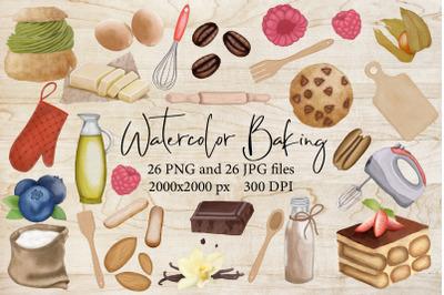Watercolor Baking,sweet dessert,kitchen tools,chocolate sub