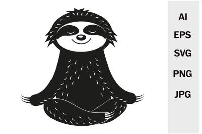 Cute character sloth meditates, monogram SVG