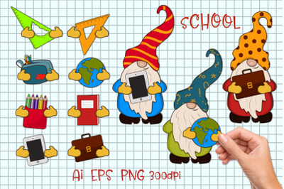 Gnomes and school supplies. Constructor