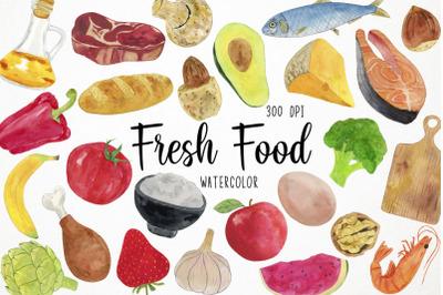 Watercolor Fresh Food Clipart, Organic Food Clipart, Natural Food Clip