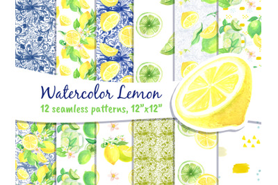 Digital Paper Lemon Art Seamless Pattern
