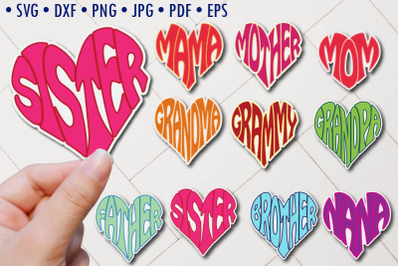 Family members stickers svg cut files, hearts designs