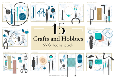 15 Crafts and Hobbies SVG Icons pack.