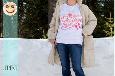 White sweatshirt mockup of a girl in winter coat, model mockup.