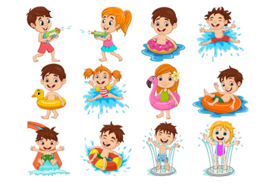 Set of Twelve Kid Activity in Water Pool