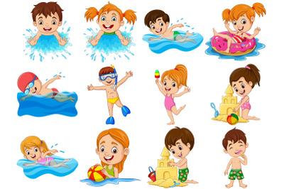 Set of Twelve Kids Activities at Beach