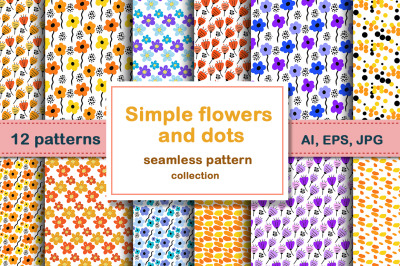 Simple flowers and dots set patterns