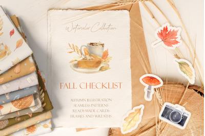 Fall Checklist Watercolor Clipart