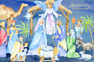Watercolor Clipart Nativity