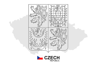 Czech Republic map with coat of arms