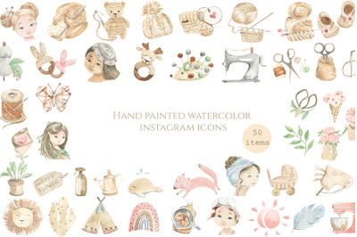 Hand painted watercolor icons