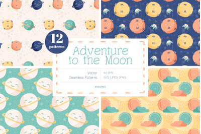 Adventure to the Moon Vector Patterns