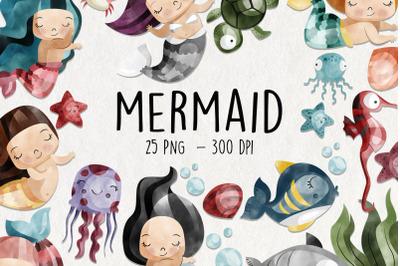 Watercolor Mermaid Clipart   Set of 25