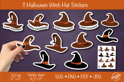 Halloween stickers PNG. Sticker Pack PNG. Witch hat stickers svg