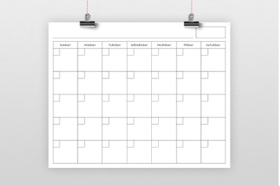 16 x 20 Inch Blank Calendar Page Template