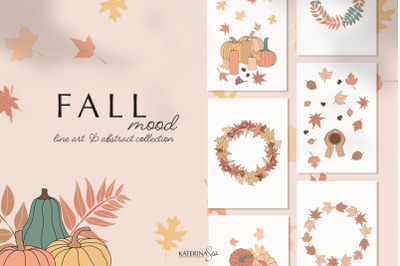 Line art & abstract autumn collection