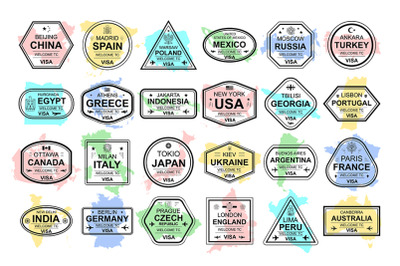 Set of travel visa stamps