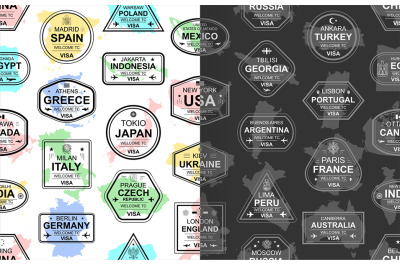 pattern with travel visa stamps