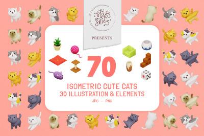 Isometric Cute Cats 3D Illustration & Elements