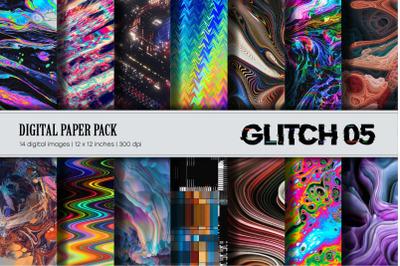 Glitch Psychedelic 05 Digital Paper