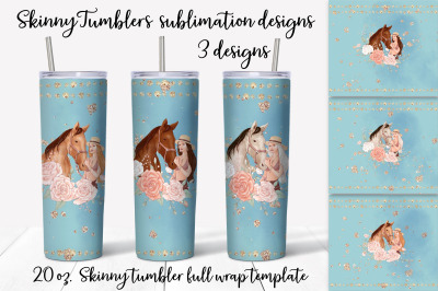 Horse sublimation design. Skinny tumbler wrap design.