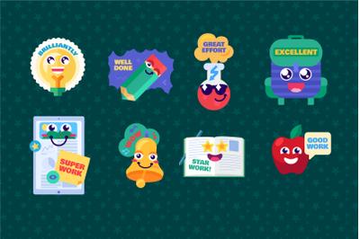 Cartoon Study Reward Stickers Set