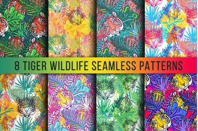 Wild Tiger Seamless Patterns Set