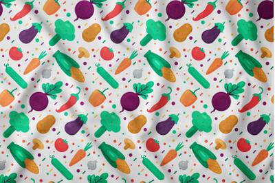 Organic vegetable food seamless pattern vector