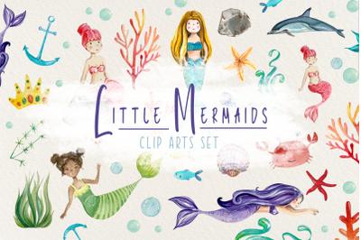 Little Mermaids Watercolor Clip Art Set