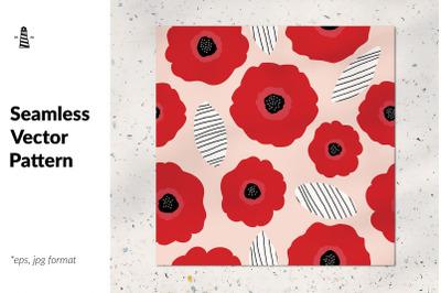Poppy flower seamless pattern