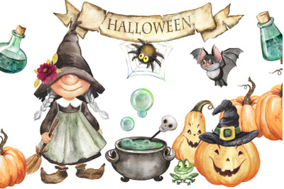 Halloween watercolor clipart with witch, bat, holiday clipart with pum