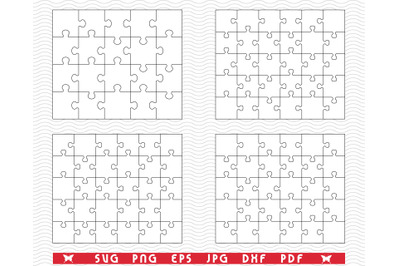 SVG White Puzzle, Separate Pieces digital clipart