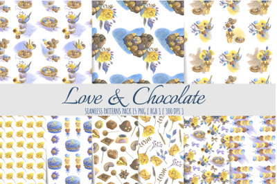 Hearts and chocolates seamless patterns. Scrapbook paper.