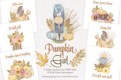 Pumpkin Fall Girls Autumn Watercolor Thanksgiving Clipart