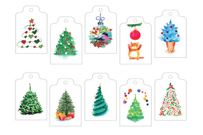 Christmas Tags || Cute set of gift tags with watercolor illustrations