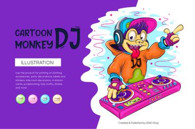 Cartoon monkey DJ.