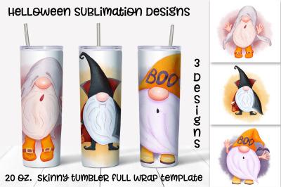 Halloween gnomes sublimation design. Skinny tumbler wrap design