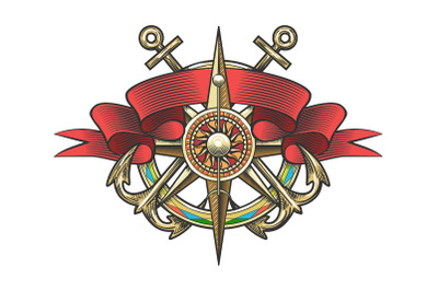 Wind Rose and Anchor Colorful Nautical Tattoo