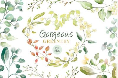 Gorgeous Greenery Illustration set