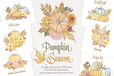 Pumpkin Clipart Fall Bouquet Thanksgiving Watercolor Clipart